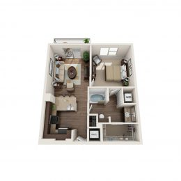 Bell Knox District Mockingbird 1 Bedroom Floorplan
