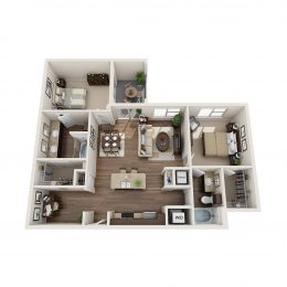 Bell Knox District Preston Hollow 2 Bedroom Floorplan with Den